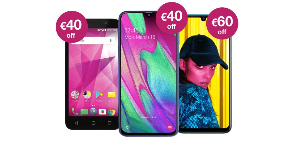 Get up to €120 off Prepay Smartphones