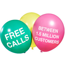 Free calls between 1.5 million customers.